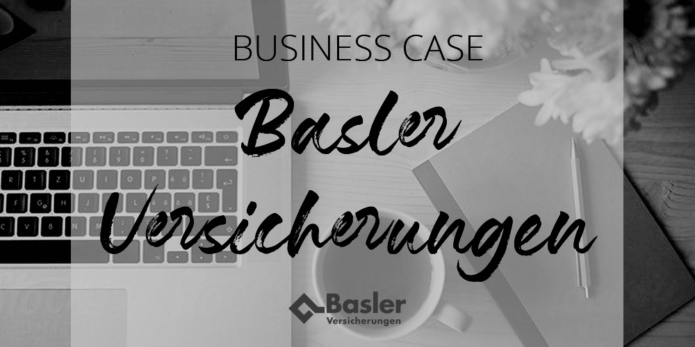 office table with laptop, mug and notebook with the title business case basler black and white