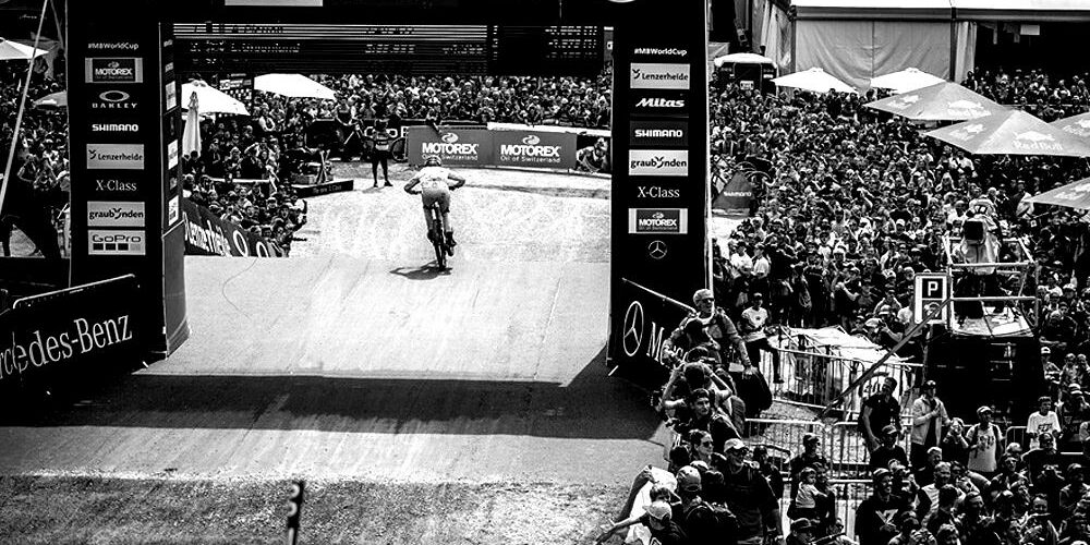 mtb event in lenzerheide with black and white filter