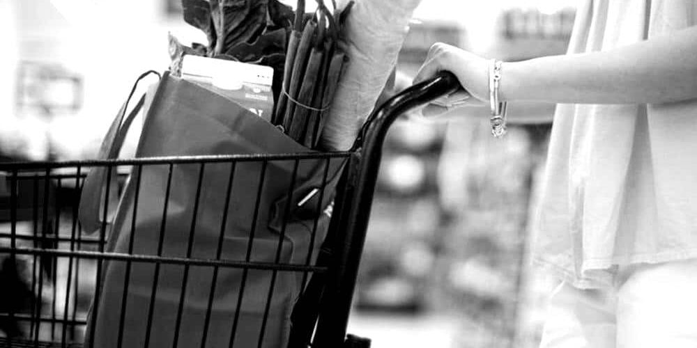 shopping bag in the supermarket in black and white
