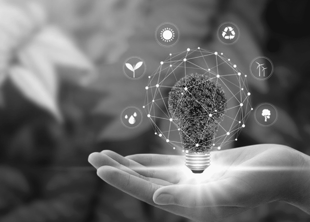 hand holding a bulb with lighting on the bottom and surrounded by graphic icons in black and white